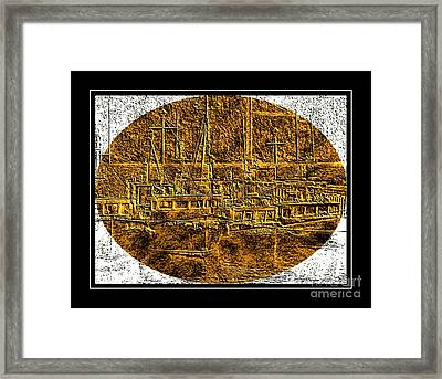 Brass-type Etching - Oval - Boats Tied Up To The Wharf Framed Print