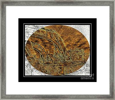 Brass-type Etching - Oval - Construction Worker Framed Print by Barbara Griffin