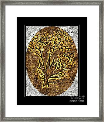 Brass-type Etching - Oval - Butterflies And Babies Breath Framed Print by Barbara Griffin