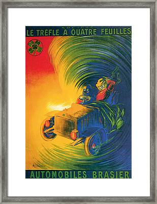 Brassier Automobile - Vintage Poster Framed Print by World Art Prints And Designs