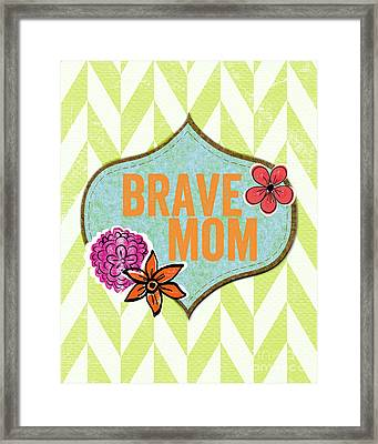 Brave Mom With Flowers Framed Print