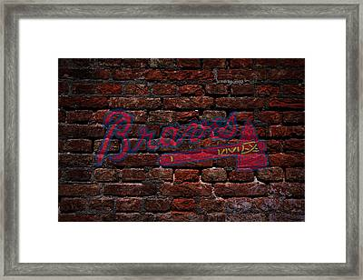 Braves Baseball Graffiti On Brick  Framed Print by Movie Poster Prints