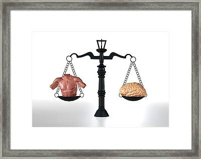 Brawn Vs Brain Framed Print by Christian Darkin
