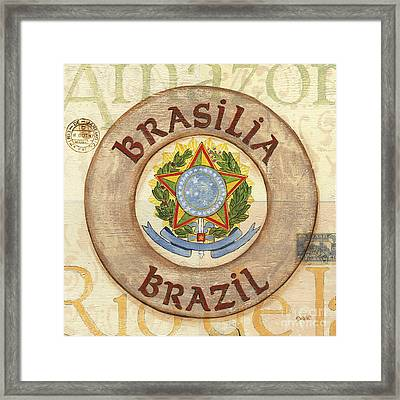 Brazil Coat Of Arms Framed Print