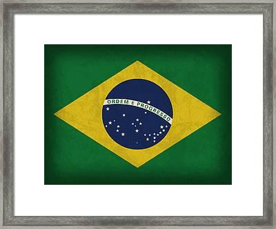 Brazil Flag Vintage Distressed Finish Framed Print by Design Turnpike