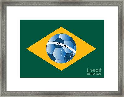 Brazil Flag With Ball Framed Print by Michal Boubin