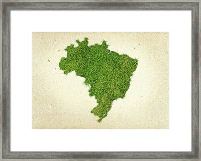Brazil Grass Map Framed Print by Aged Pixel