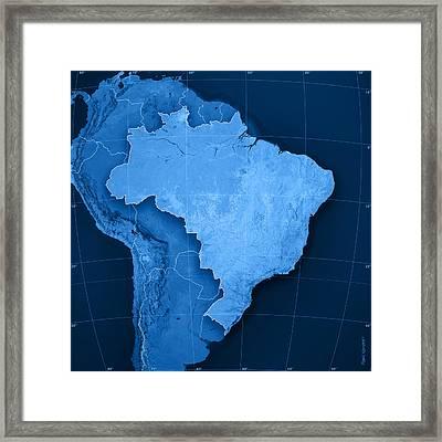 Brazil Topographic Map Framed Print by Frank Ramspott