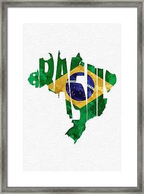 Brazil Typographic Map Flag Framed Print by Ayse Deniz