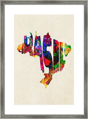 Brazil Typographic Watercolor Map Framed Print by Ayse Deniz