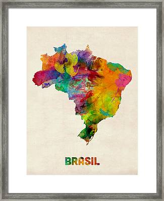 Brazil Watercolor Map Framed Print by Michael Tompsett