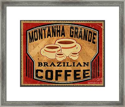 Brazilian Coffee Label 1 Framed Print by Cinema Photography