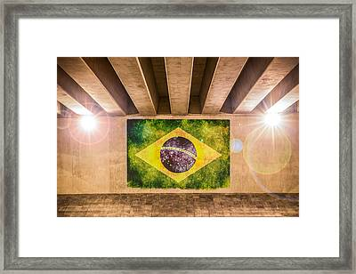 Brazilian Flag Framed Print by Semmick Photo