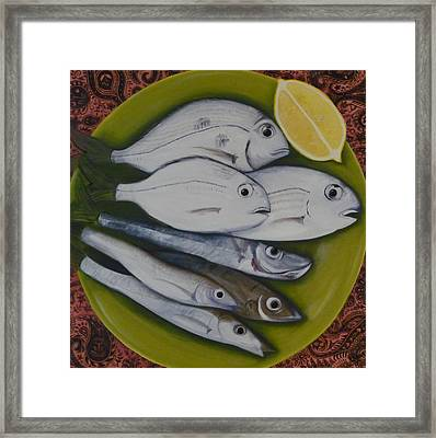 Framed Print featuring the painting Bread And Butter Plate by Helen Syron