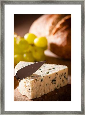 Bread And Cheese With Grapes Framed Print by Amanda Elwell