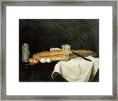 Bread And Eggs Framed Print by Paul Cezanne