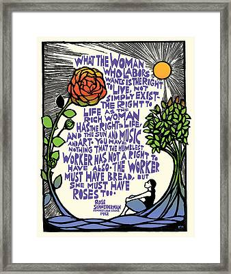 Bread And Roses Framed Print by Ricardo Levins Morales