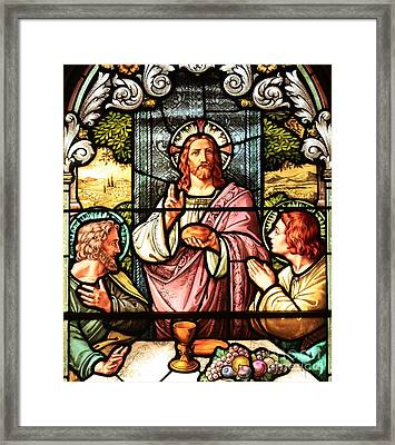 Bread And Wine With Jesus Framed Print
