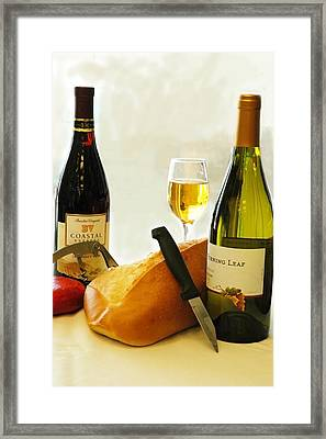Bread Cheese And Wine Framed Print by Norman Johnson