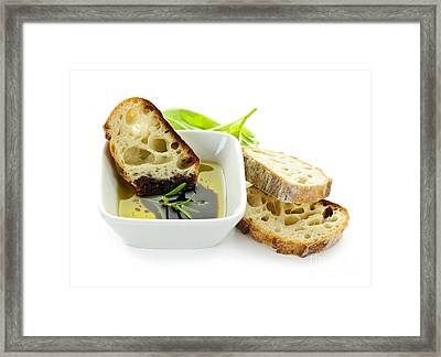 Bread Olive Oil And Vinegar Framed Print by Elena Elisseeva