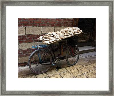Framed Print featuring the photograph Bread To Go In Cairo by Jacqueline M Lewis