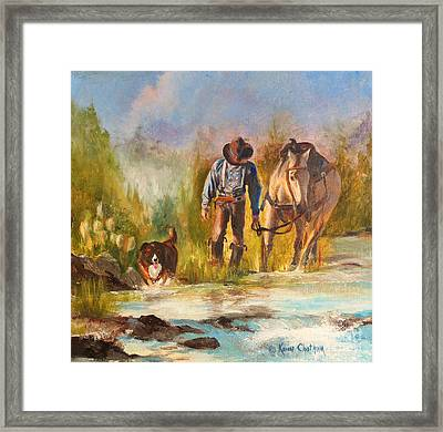 Framed Print featuring the painting Break For The Ride by Karen Kennedy Chatham