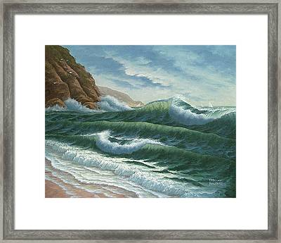 Breakers At Big Sur Framed Print by Del Malonee