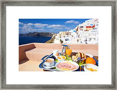 Breakfast At Terrace Framed Print by Aiolos Greek Collections