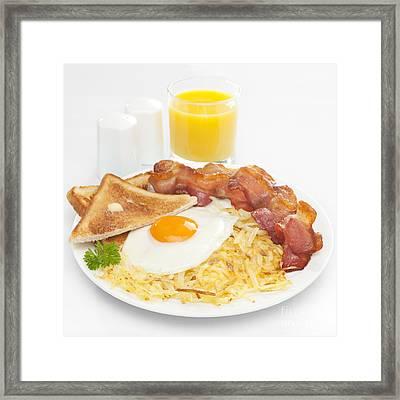 Breakfast Hash Browns Bacon Fried Egg Toast Orange Juice Framed Print