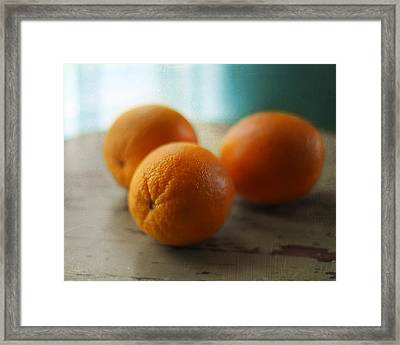 Breakfast Oranges Framed Print by Amy Tyler