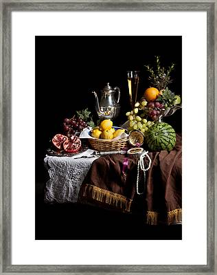 Breakfast Piece With Fruits And Flute Glass Framed Print by Levin Rodriguez