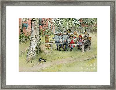 Breakfast Under The Big Birch Framed Print by Carl Larsson