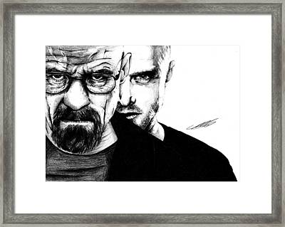 Breaking Bad Walter White And Jesse Pinkman Framed Print by Mike Sarda