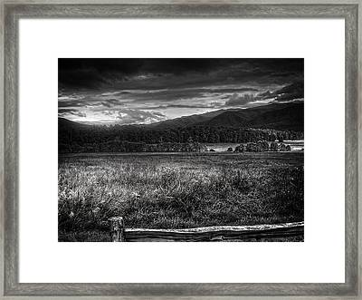 Breaking Sun In Cades Cove In Black And White Framed Print