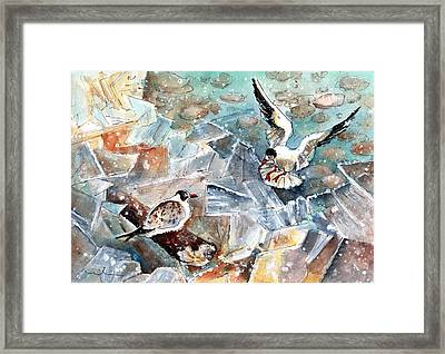 Breaking The Ice On Lake Constance Framed Print by Miki De Goodaboom