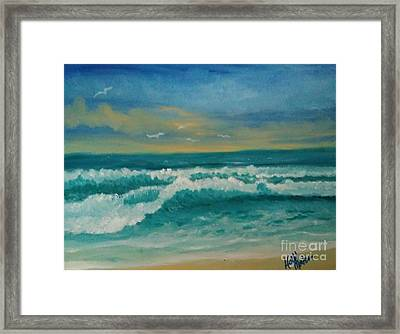 Framed Print featuring the painting Breaking Waves by Holly Martinson