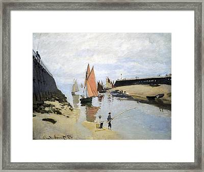 Breakwater At Trouville Framed Print by Claude Monet