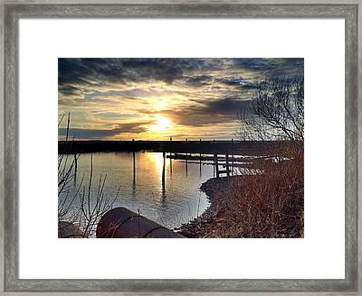 Framed Print featuring the photograph Breakwater Boat Dock Sunset by Chriss Pagani