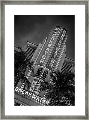 Breakwater Hotel Art Deco District Sobe Miami - Black And White Framed Print by Ian Monk