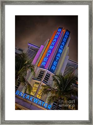 Breakwater Hotel Art Deco District Sobe Miami - Hdr Style Framed Print by Ian Monk