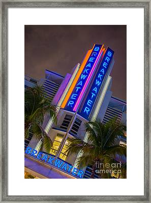Breakwater Hotel Art Deco District Sobe Miami Framed Print by Ian Monk
