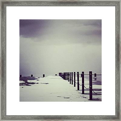 Breakwater Framed Print by Mike Maher