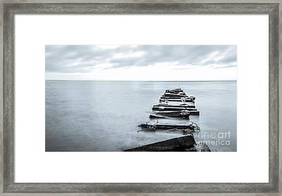 Breakwater Monochrome Framed Print by Andrew Slater