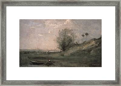 Breakwater, Normandy Framed Print by Jean Baptiste Camille Corot