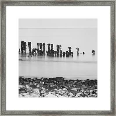 Breakwater Squared Framed Print by Anne Gilbert