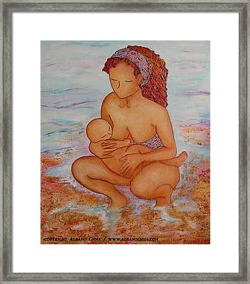 Breastfeeding In Color And Sand Framed Print