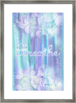 Breathe Refreshing Hydrangea Turquoise Purple Watercolor Framed Print