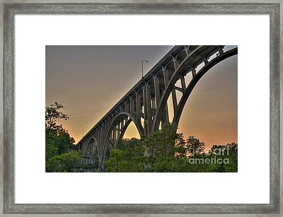 Framed Print featuring the photograph Brecksville Arched Bridge by Jim Lepard