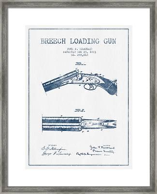 Breech Loading Gun Patent Drawing From 1883 -  Blue Ink Framed Print