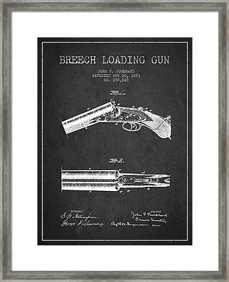 Breech Loading Gun Patent Drawing From 1883 - Dark Framed Print by Aged Pixel